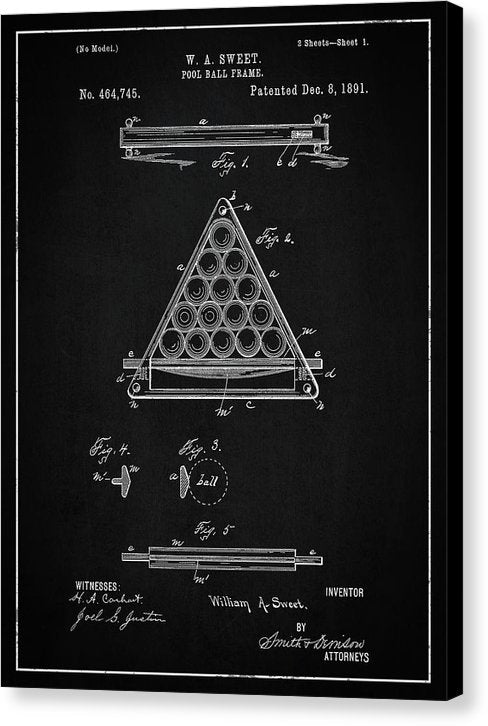 Vintage Billiard Ball Frame Patent, 1891 - Canvas Print from Wallasso - The Wall Art Superstore