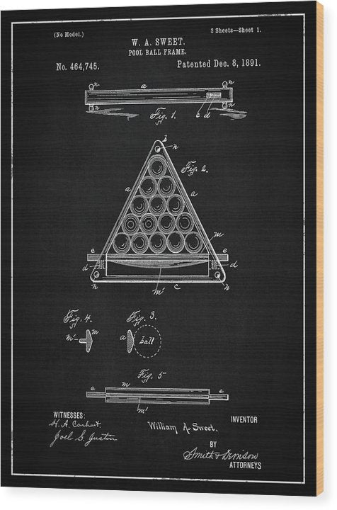 Vintage Billiard Ball Frame Patent, 1891 - Wood Print from Wallasso - The Wall Art Superstore
