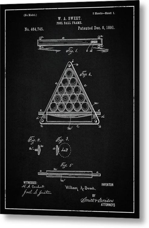 Vintage Billiard Ball Frame Patent, 1891 - Metal Print from Wallasso - The Wall Art Superstore