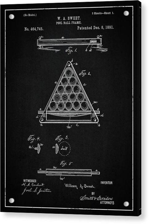 Vintage Billiard Ball Frame Patent, 1891 - Acrylic Print from Wallasso - The Wall Art Superstore