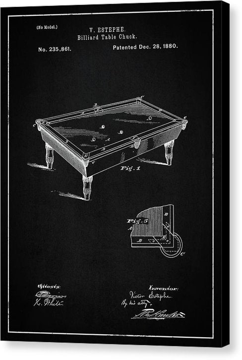 Vintage Billiard Table Patent, 1880 - Canvas Print from Wallasso - The Wall Art Superstore