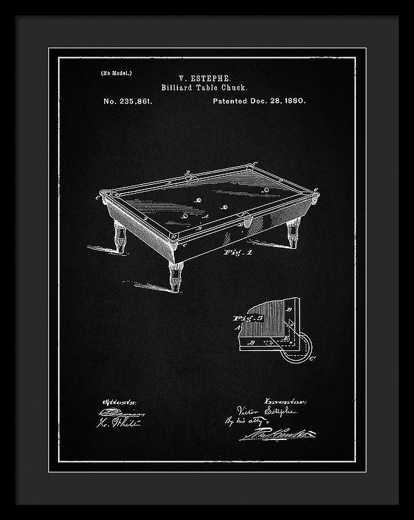 Vintage Billiard Table Patent, 1880 - Framed Print from Wallasso - The Wall Art Superstore