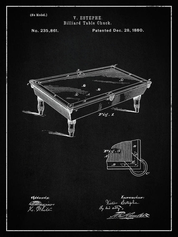 Vintage Billiard Table Patent, 1880 - Art Print from Wallasso - The Wall Art Superstore