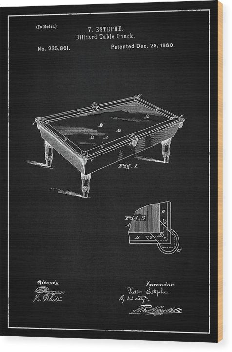Vintage Billiard Table Patent, 1880 - Wood Print from Wallasso - The Wall Art Superstore