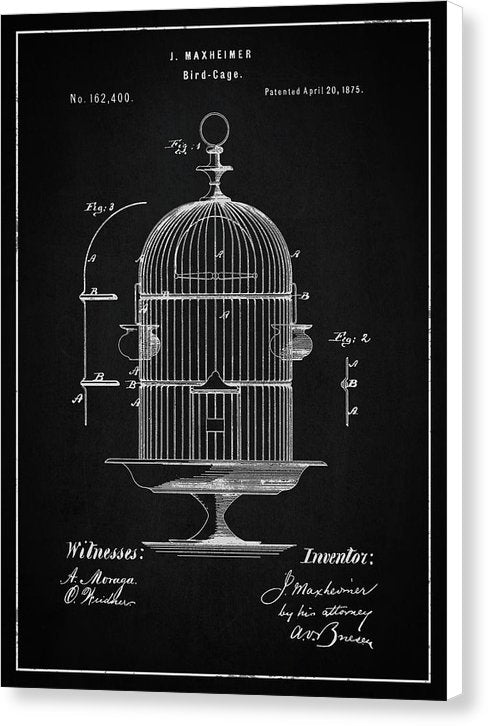 Vintage Bird Cage Patent, 1875 - Canvas Print from Wallasso - The Wall Art Superstore
