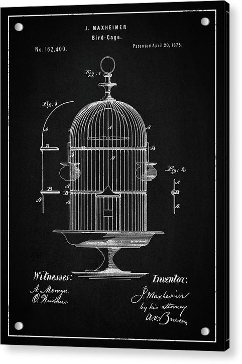 Vintage Bird Cage Patent, 1875 - Acrylic Print from Wallasso - The Wall Art Superstore