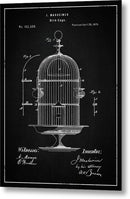 Vintage Bird Cage Patent, 1875 - Metal Print from Wallasso - The Wall Art Superstore