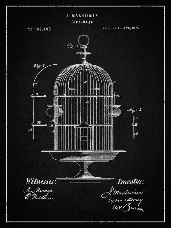 Vintage Bird Cage Patent, 1875 - Art Print from Wallasso - The Wall Art Superstore