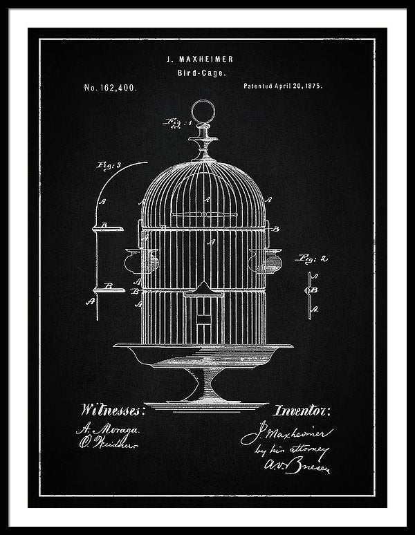 Vintage Bird Cage Patent, 1875 - Framed Print from Wallasso - The Wall Art Superstore