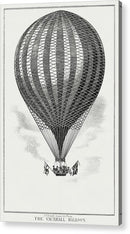 Vintage Black and White Hot Air Balloon Sketch - Acrylic Print from Wallasso - The Wall Art Superstore