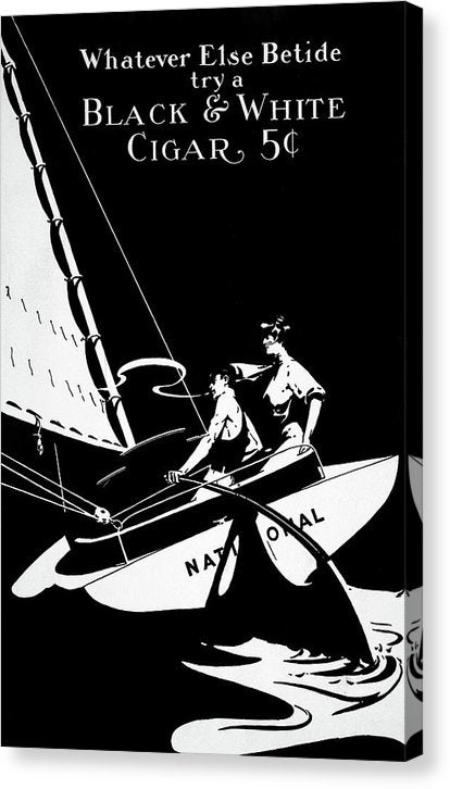 Vintage Black and White Sailboat Cigar Poster - Canvas Print from Wallasso - The Wall Art Superstore