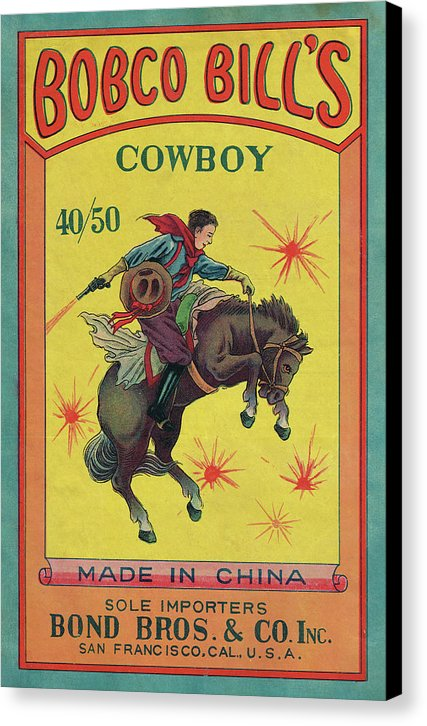 Vintage Bobco Bills Bucking Bronco Firecracker Label - Canvas Print from Wallasso - The Wall Art Superstore
