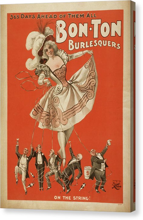 Vintage Bonton Burlesquers Poster, 1898 - Canvas Print from Wallasso - The Wall Art Superstore