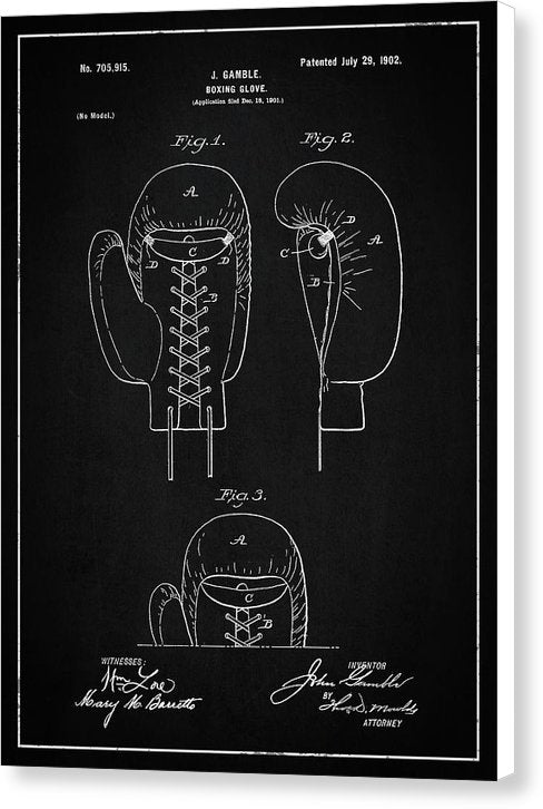Vintage Boxing Glove Patent, 1902 - Canvas Print from Wallasso - The Wall Art Superstore