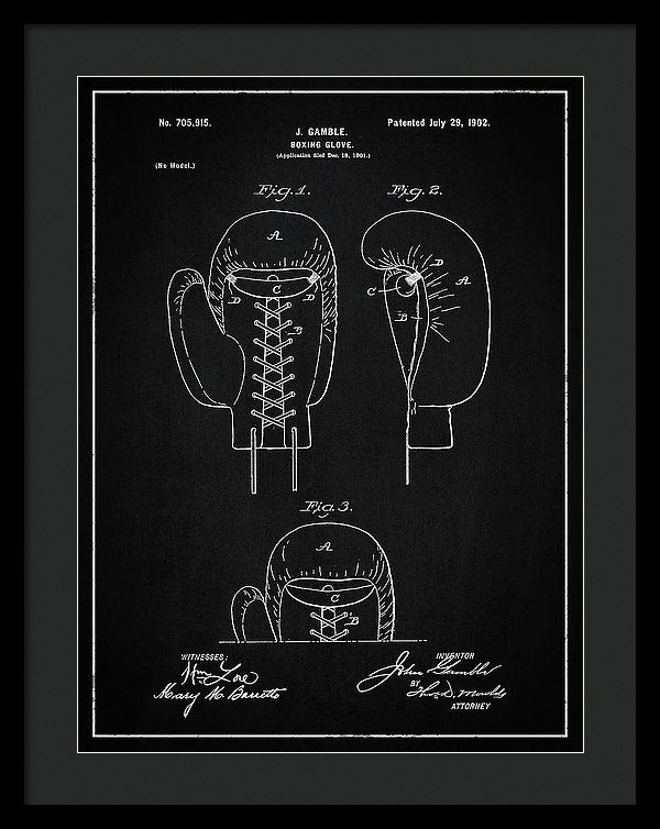 Vintage Boxing Glove Patent, 1902 - Framed Print from Wallasso - The Wall Art Superstore