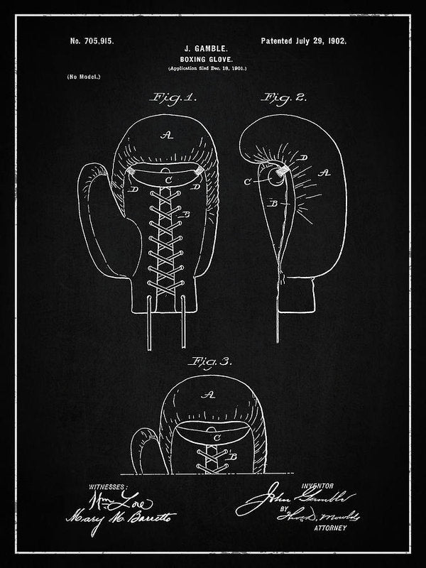 Vintage Boxing Glove Patent, 1902 - Art Print from Wallasso - The Wall Art Superstore