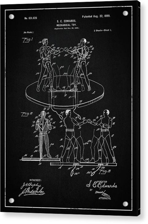 Vintage Boxing Toy Patent, 1899 - Acrylic Print from Wallasso - The Wall Art Superstore