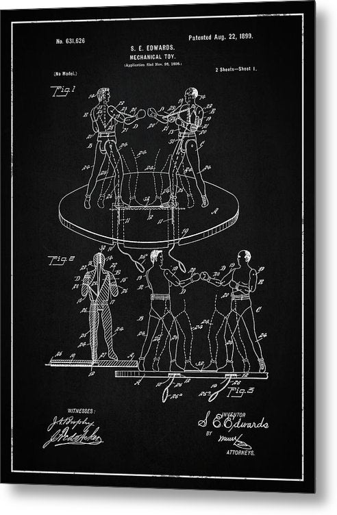 Vintage Boxing Toy Patent, 1899 - Metal Print from Wallasso - The Wall Art Superstore