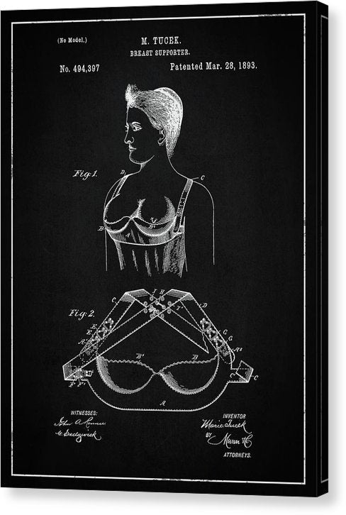 Vintage Bra Patent, 1893 - Canvas Print from Wallasso - The Wall Art Superstore