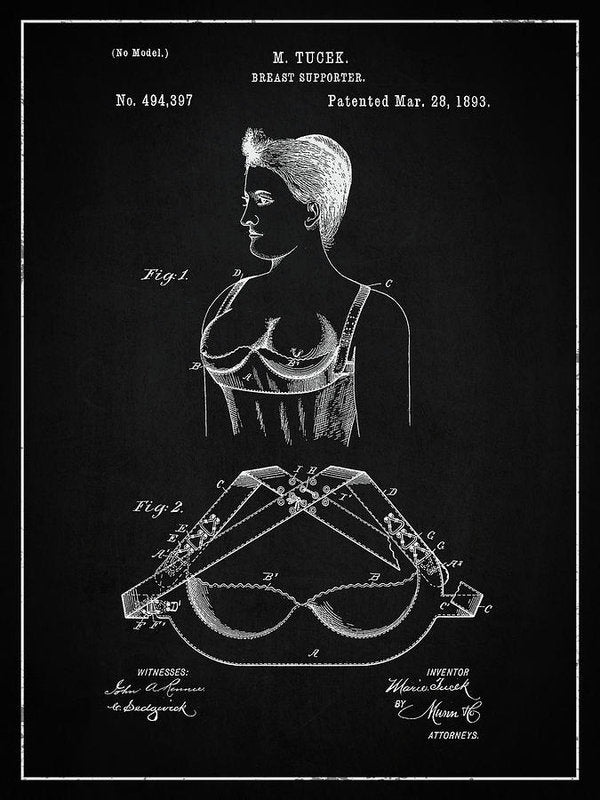 Vintage Bra Patent, 1893 - Art Print from Wallasso - The Wall Art Superstore