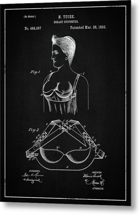 Vintage Bra Patent, 1893 - Metal Print from Wallasso - The Wall Art Superstore