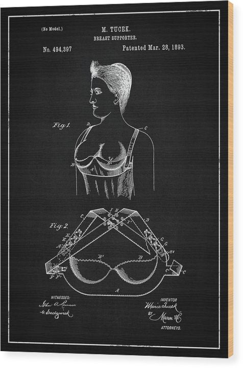 Vintage Bra Patent, 1893 - Wood Print from Wallasso - The Wall Art Superstore