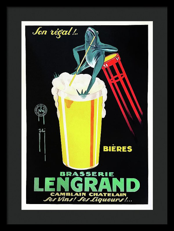 7709.Vintage design Poster.Home room office wall decor.Lengrand Beer.French Frog