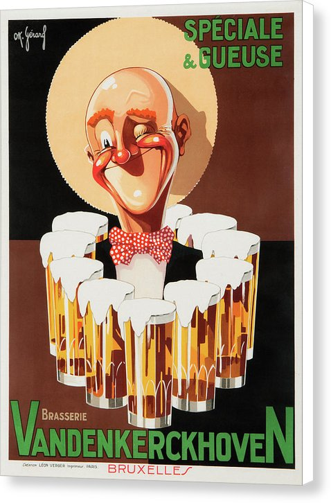 Vintage Brasserie Vandenkerckhoven Old Man Beer Poster - Canvas Print from Wallasso - The Wall Art Superstore