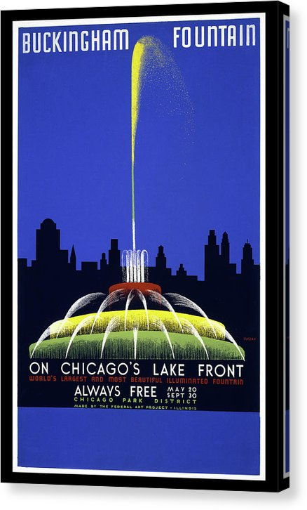 Vintage Buckingham Fountain In Chicago Poster, 1939 - Canvas Print from Wallasso - The Wall Art Superstore