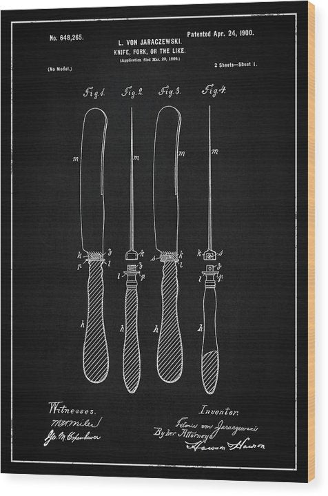 Vintage Butter Knife Patent, 1900 - Wood Print from Wallasso - The Wall Art Superstore