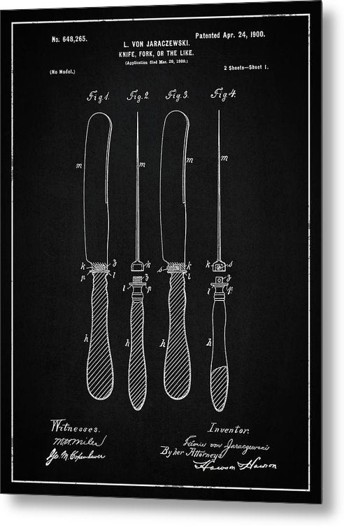 Vintage Butter Knife Patent, 1900 - Metal Print from Wallasso - The Wall Art Superstore