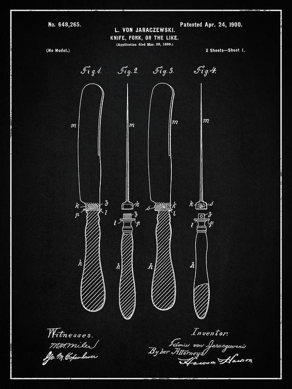Vintage Butter Knife Patent, 1900 - Art Print from Wallasso - The Wall Art Superstore