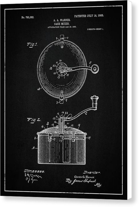 Vintage Cake Mixer Patent, 1905 - Canvas Print from Wallasso - The Wall Art Superstore
