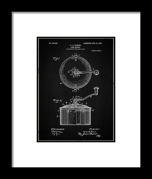 Vintage Cake Mixer Patent, 1905 - Framed Print from Wallasso - The Wall Art Superstore