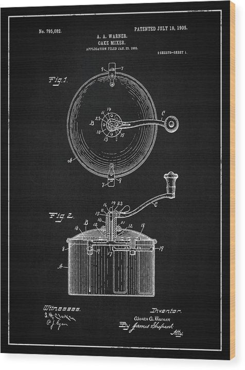Vintage Cake Mixer Patent, 1905 - Wood Print from Wallasso - The Wall Art Superstore