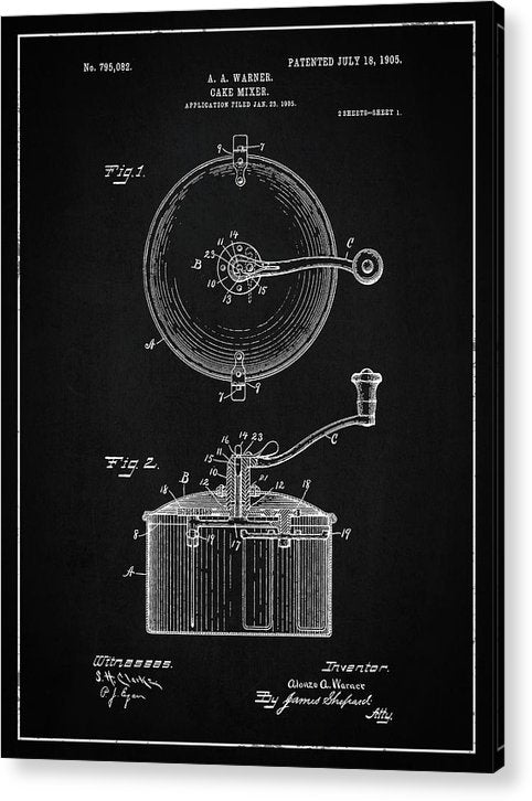 Vintage Cake Mixer Patent, 1905 - Acrylic Print from Wallasso - The Wall Art Superstore