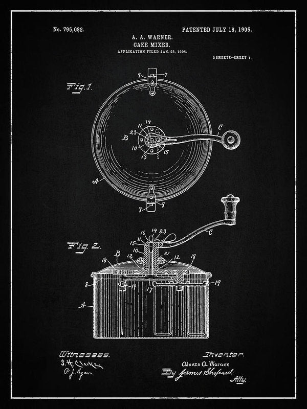Vintage Cake Mixer Patent, 1905 - Art Print from Wallasso - The Wall Art Superstore