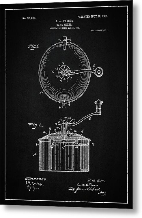 Vintage Cake Mixer Patent, 1905 - Metal Print from Wallasso - The Wall Art Superstore