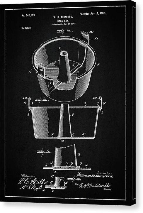 Vintage Cake Pan Patent, 1900 - Canvas Print from Wallasso - The Wall Art Superstore