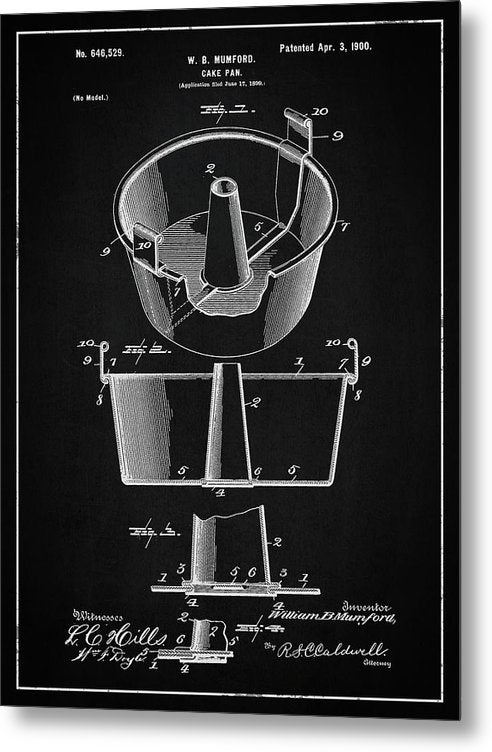 Vintage Cake Pan Patent, 1900 - Metal Print from Wallasso - The Wall Art Superstore