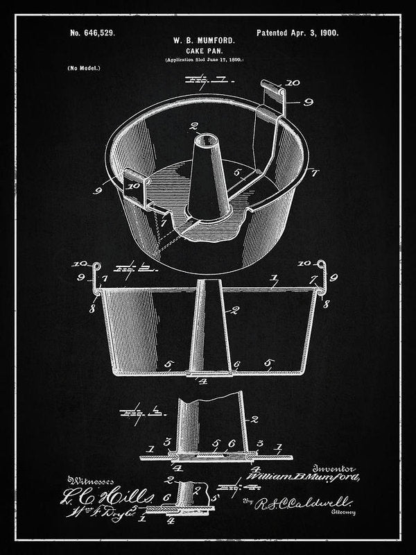 Vintage Cake Pan Patent, 1900 - Art Print from Wallasso - The Wall Art Superstore