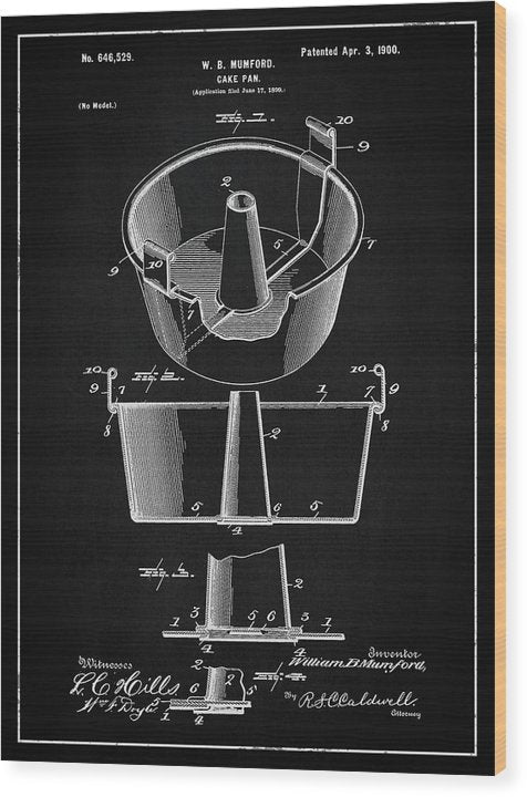 Vintage Cake Pan Patent, 1900 - Wood Print from Wallasso - The Wall Art Superstore
