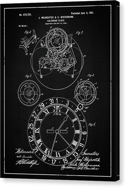 Vintage Calendar Clock Patent, 1901 - Canvas Print from Wallasso - The Wall Art Superstore