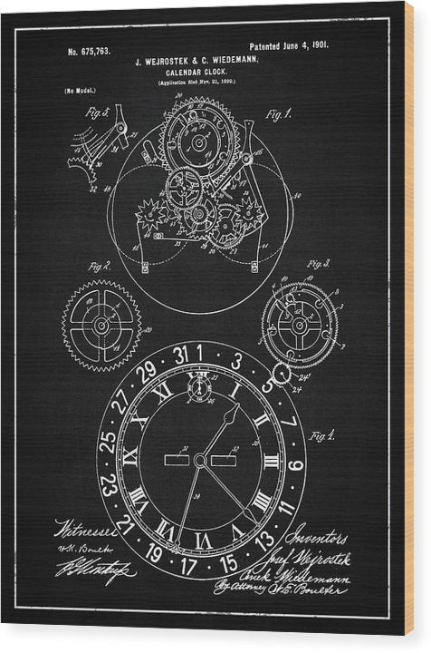 Vintage Calendar Clock Patent, 1901 - Wood Print from Wallasso - The Wall Art Superstore