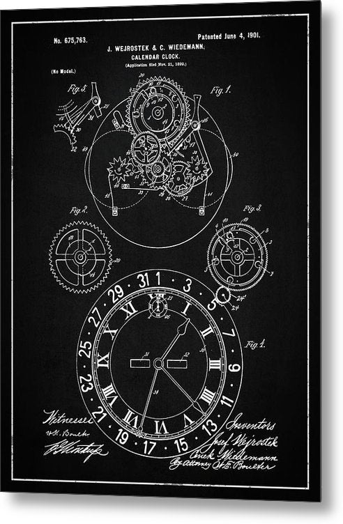 Vintage Calendar Clock Patent, 1901 - Metal Print from Wallasso - The Wall Art Superstore