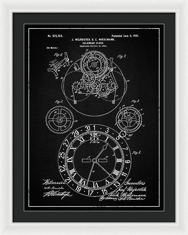 Vintage Calendar Clock Patent, 1901 - Framed Print from Wallasso - The Wall Art Superstore