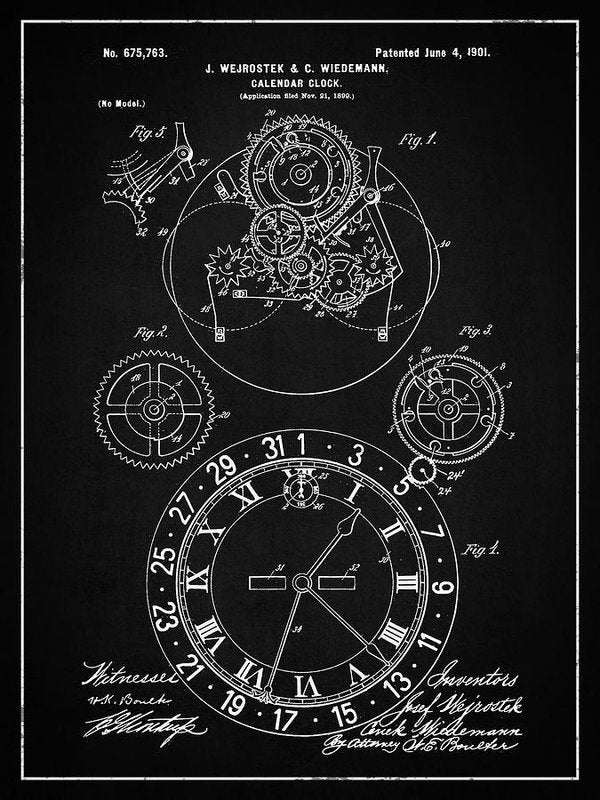 Vintage Calendar Clock Patent, 1901 - Art Print from Wallasso - The Wall Art Superstore