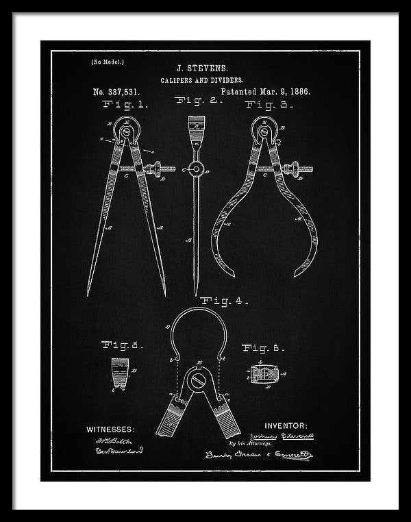 Vintage Calipers Patent, 1886 - Framed Print from Wallasso - The Wall Art Superstore