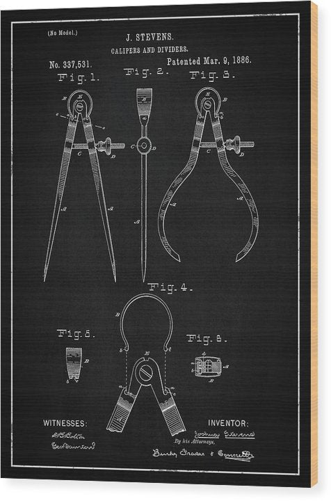 Vintage Calipers Patent, 1886 - Wood Print from Wallasso - The Wall Art Superstore