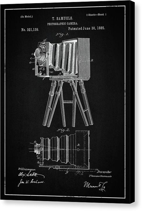 Vintage Camera Patent, 1885 - Canvas Print from Wallasso - The Wall Art Superstore